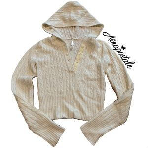 Aero Crop Hooded Cable Knit Sweater